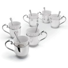 Набор кружек для чая Серебряный муар на 6 персон