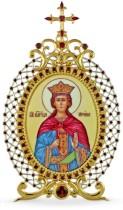 Серебряная настольная икона с финифтьевым образом Святой великомученицы Ирины