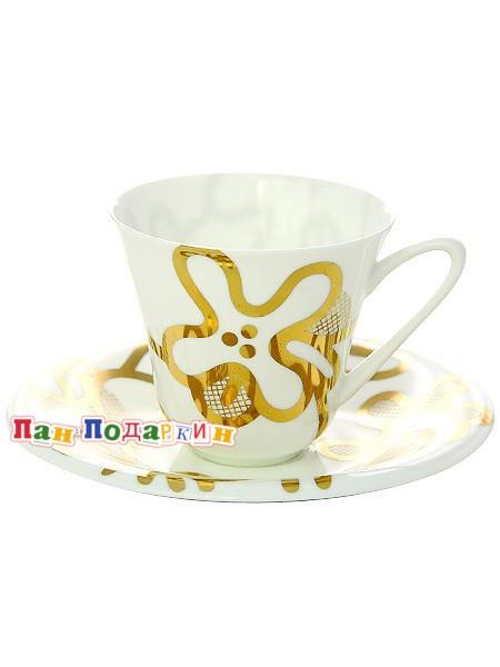 Чайная чашка с блюдцем Эмилия золотая