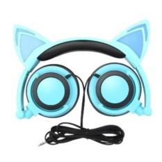 Синие светящиеся наушники с ушками кошки