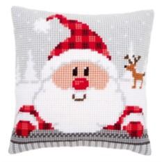 Набор для вышивания Санта в клетчатой шапке