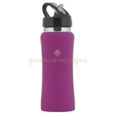 Прорезиненная спортивная бутыль Индиана цвета Фуксии