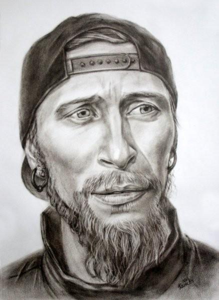 Мужской портрет сухой кистью