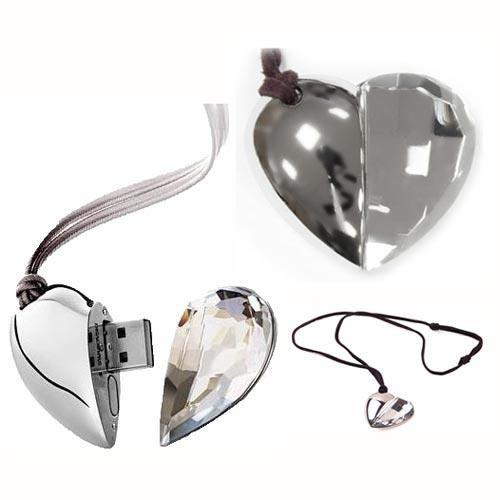 Флеш накопитель в виде кулона Сердце стеклянное