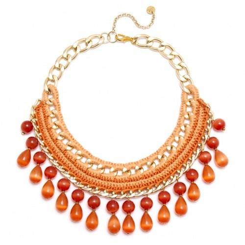 Плетеное красно-оранжевое колье