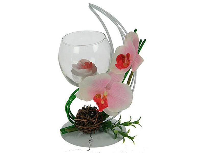 Декоративный подсвечник Розовая орхидея со свечой