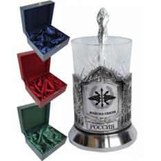 Чайный подарочный набор:черненый подстаканник Войска Связи в футляре