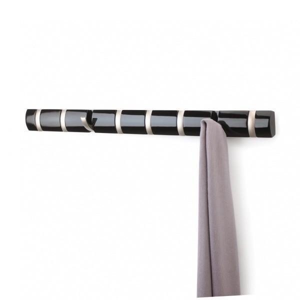 Настенная горизонтальная вешалка Flip, 8 крючков, черная