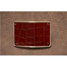 Пряжка для ремня с кожаной вставкой. Коллекция G.Design (красный, крокодил; нат. кожа)