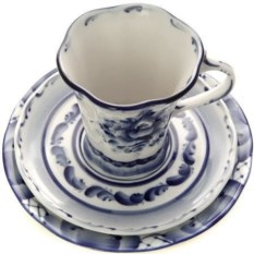 Чайный комплект с художественной росписью гжель Катерина