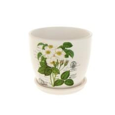 Горшок для цветов с поддоном Белый шиповник