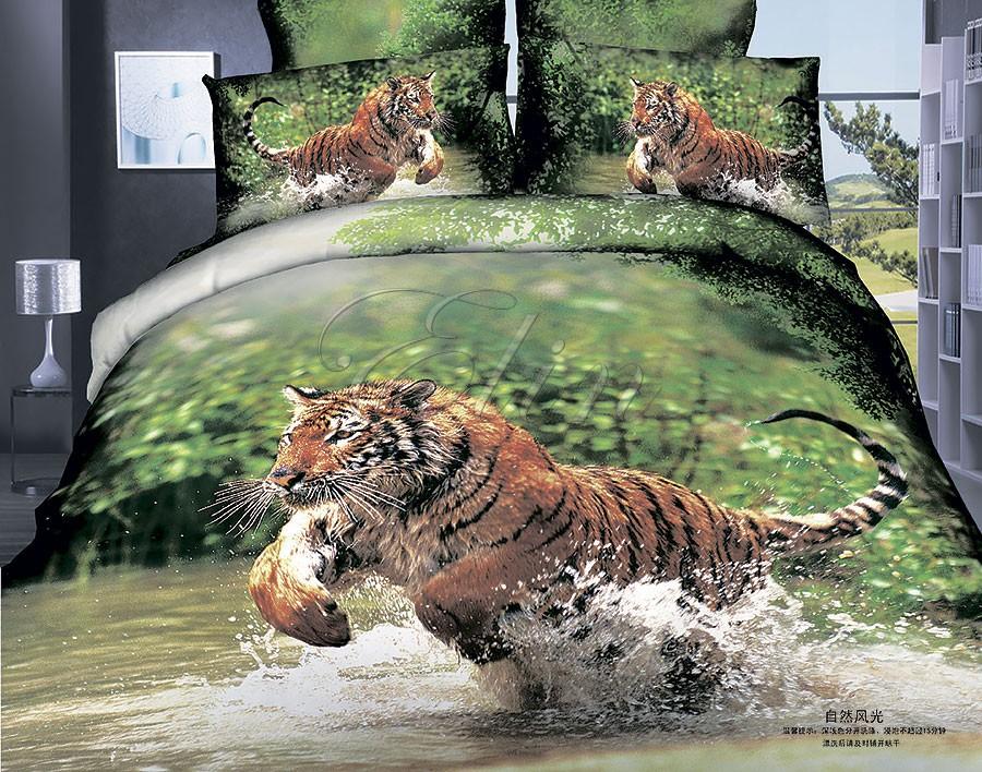 Сатиновое постельное белье Тигр (Elin)