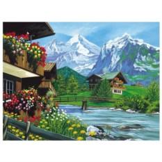 Картина-раскраска по номерам на холсте Шале в Альпах
