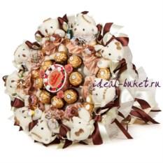 Букет из конфет и игрушек Шоколадные мишки