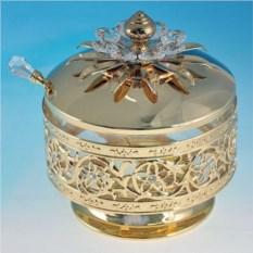 Золотистая сахарница с ложечкой кристаллом