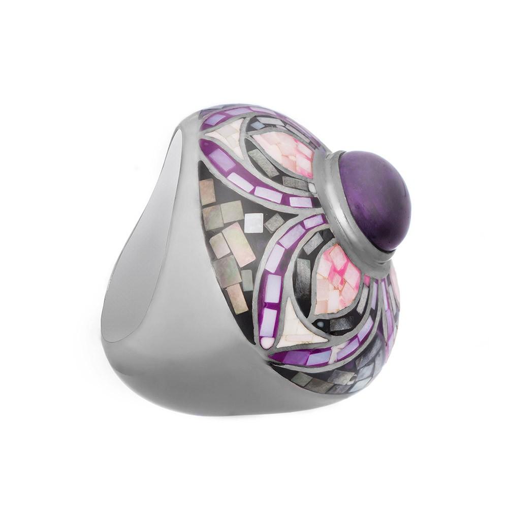 Серебряное кольцо с мозаикой, эмалью, и аметистом