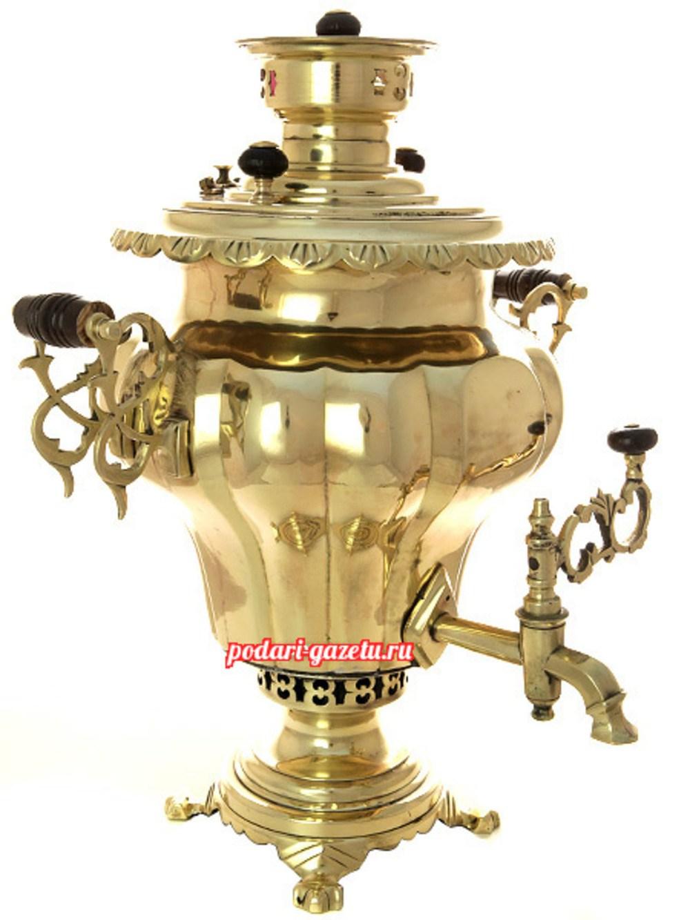 Угольный самовар (жаровой, дровяной) (7 литров) желтый груша с витыми ручками