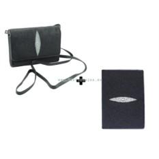 Сумочка и обложка на паспорт, из натуральной кожи ската