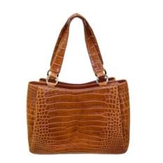 Светло-коричневая женская сумка из кожи крокодила