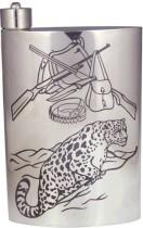 Мужская серебряная фляга Леопард