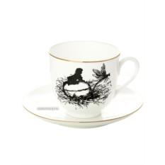 Кофейная чашка с блюдцем , форма Ландыш, рисунок Стрекоза, серия Силуэты