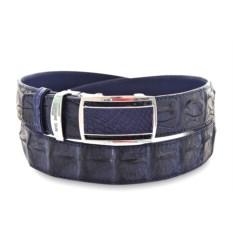 Темно-синий мужской ремень из кожи крокодила
