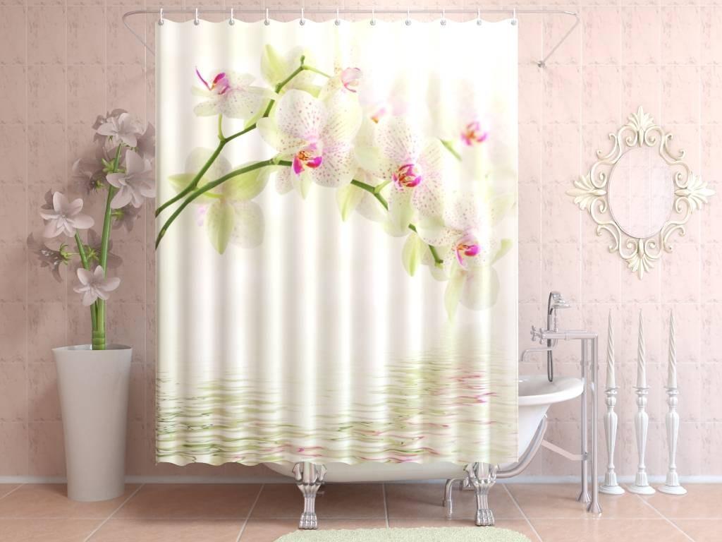 Штора для ванной Цветы у воды
