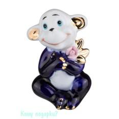 Статуэтка из фарфора «Маленькая обезьянка», h=7 см, белая с синим