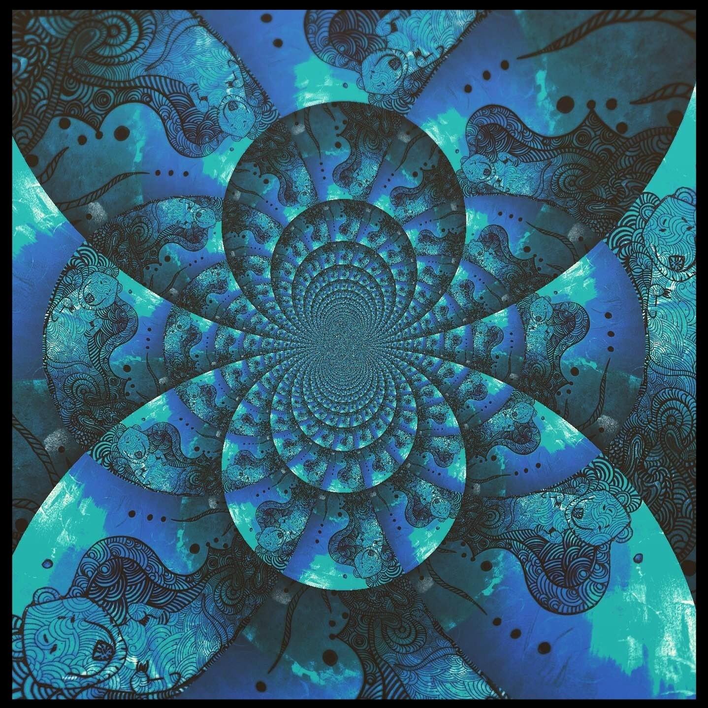 Шифоновый платок BLUE CALEIDOSCOPE