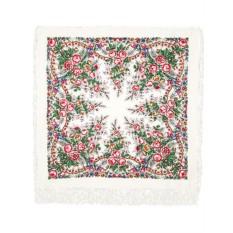 Павлопосадский шерстяной платок с рисунком Весеннее утро