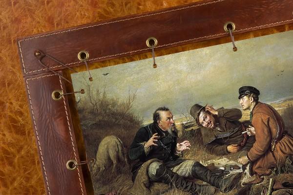 Картина из кожи Охотники на привале В.Г. Перов (прямоуг.)