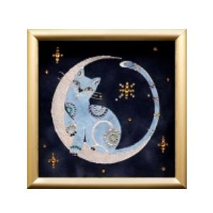 Картина с кристаллами Swarovski «Лунный кот»