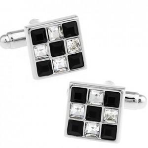 Запонки Черно-белые кристаллы