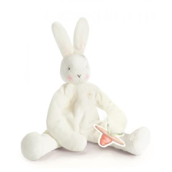 Комфортер и держатель для соски Белый пушистый зайка