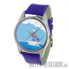 Наручные часы Мальчик и собака в лодке (цвет: кобальтовый)