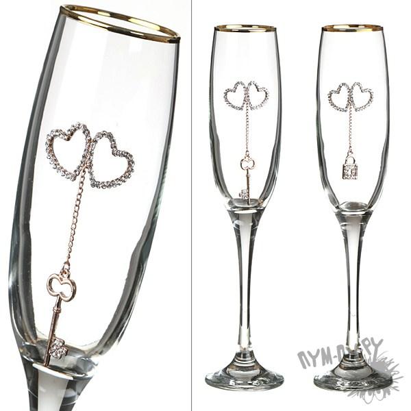 Набор бокалов для шампанскогоМелодия двух сердец