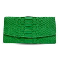 Зеленый кошелек из кожи питона