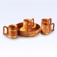 Пивной набор из 4 дубовых кружки