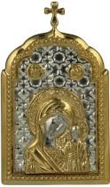 Серебр. настольная икона с образом Казанской Божьей матери