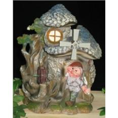 Декоративный фонтан с гномиками и мельницей