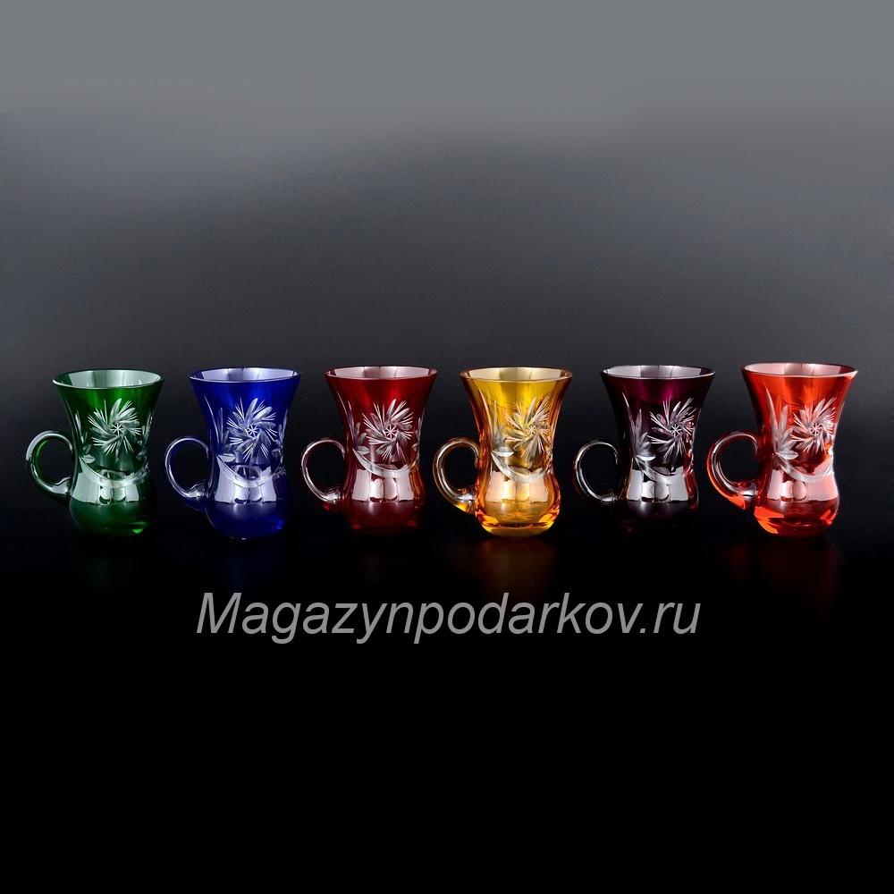 Набор 6 стаканов  с ручкой  R-G, цветные