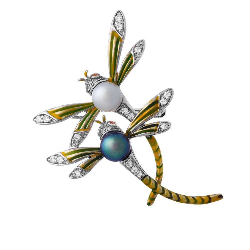 Серебряная брошь с фианитами и жемчугом игра стрекоз.