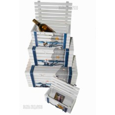 Комплект морских сундучков (4 штуки, цвет: белый)