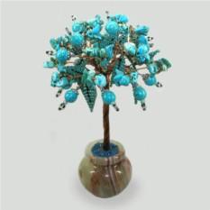 Цветущее дерево из бирюзы в вазочке из оникса