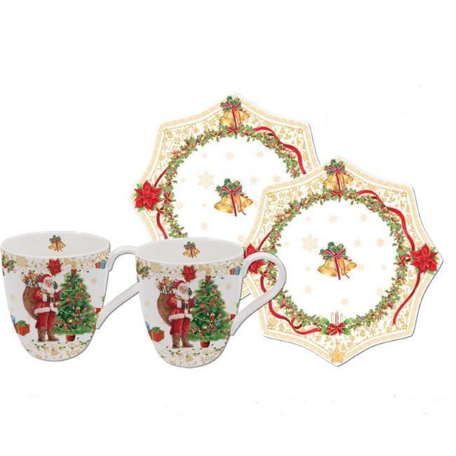 Набор 2 кофейные чашки С Новым годом, золотые