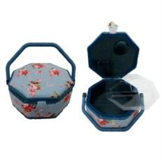 Голубая шкатулка для рукоделия с подносом, 22,5х22,5х10 см