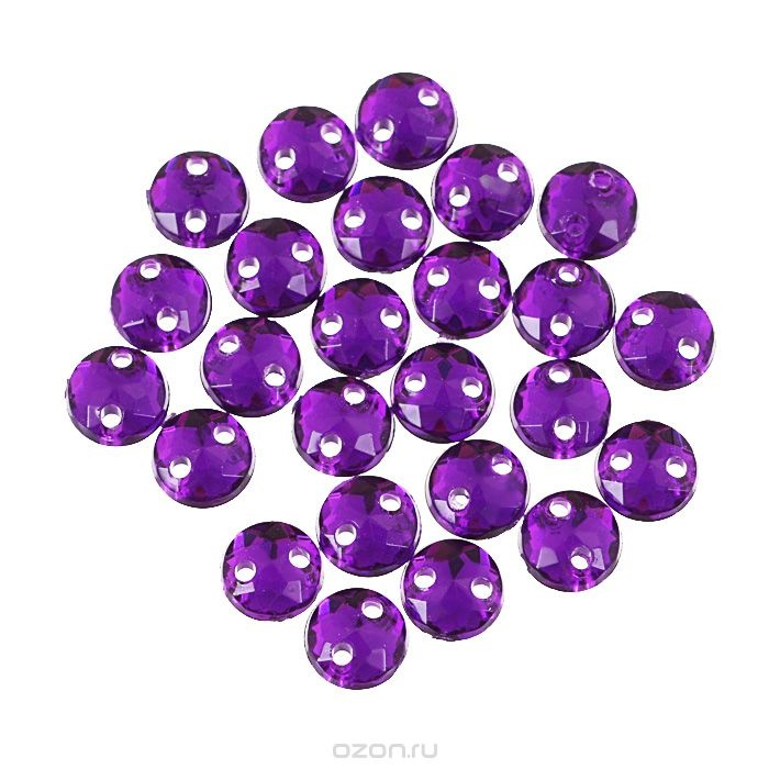 Пришивные стразы Астра, акриловые, круглые, темный пурпур, диаметр 6,5 мм, 25 шт