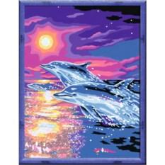 Раскраска по номерам Ravensburger Дельфины на закате