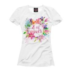Белая женская футболка 8 of March