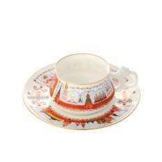 Чайная чашка с блюдцем, форма Билибина, рисунок Московский кремль
